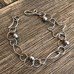 Silver Plated Bracelet Moon, Star, Fish, Diamond